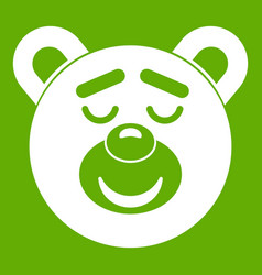 sleeping teddy bear icon green vector image