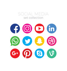 Social media icon set collection vector