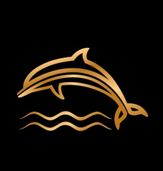 styled golden dolphin with waves vector image
