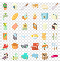 Sweet home icons set cartoon style vector