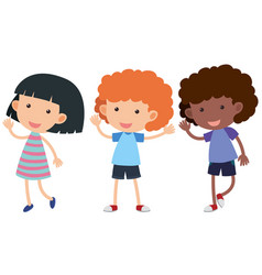 three kids with happy face waving hands vector image