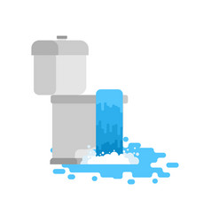 toilet is clogged with water leaking out vector image