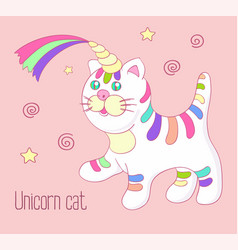 Unicorn cat with rainbow horn and stripes isoleted vector