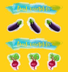 Vegetables food watercolor vector