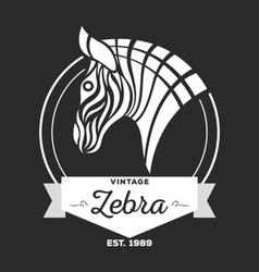 Vintage Zebra Logo Design Template vector image