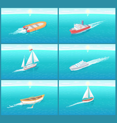 Water transport travel means boats set vector