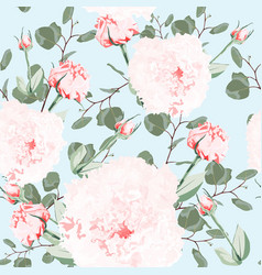 watercolor style pink eustoma and eucalyptus vector image