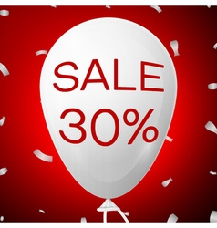 White baloon with text sale 30 percent discounts vector