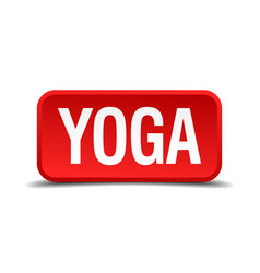 Yoga red 3d square button isolated on white vector