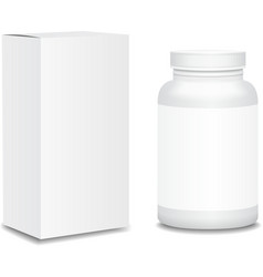 Blank medicine bottle with box realistic isolated vector image