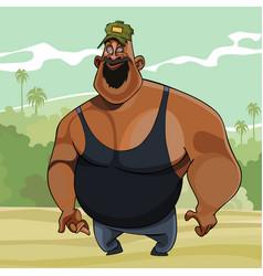 cartoon big joyful man in the nature vector image