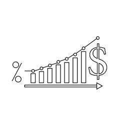 Dollar increase graph icon outline style vector