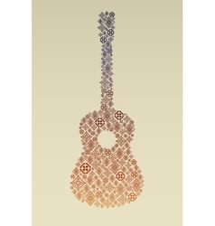 Music poster with guitar made of folk ornament vector image