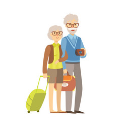 senior couple tourists traveling with suitcases vector image vector image