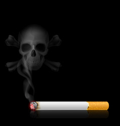 skull shaped smoke comes out from cigarette on vector image vector image