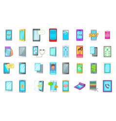 smartphone icon set cartoon style vector image