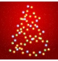 Christmas tree lights background vector image