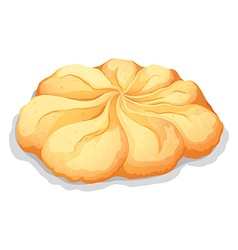Round butter cookie on white vector