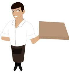 A waiter with a pizza vector image vector image