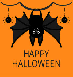 bat hanging spider dash line web happy halloween vector image vector image