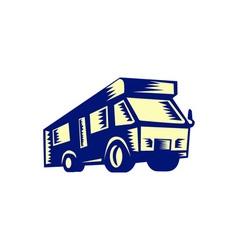 Camper Van Motor Home Woodcut vector image vector image