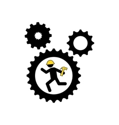 character man worker construction and gears with vector image vector image