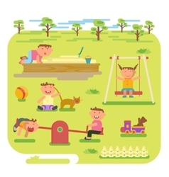 children play outdoors vector image