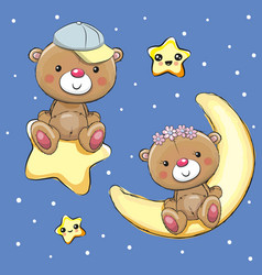 lovers teddy bears on a moon and star vector image vector image
