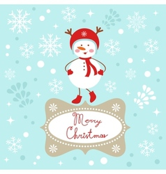 Snowgirl Christmas card vector image vector image