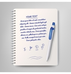 Spiral notebook and white ballpoint pen vector image vector image