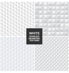 white seamless geometric textures vector image