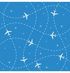 Airplane routes and stars seamless vector