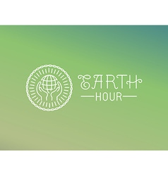earth hour logo design in linear style vector image