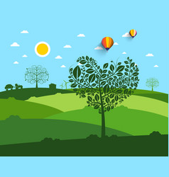 flat landscape with heart shaped tree on vector image