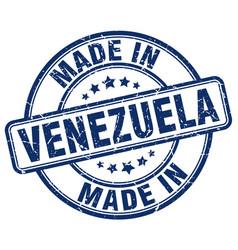 made in venezuela blue grunge round stamp vector image