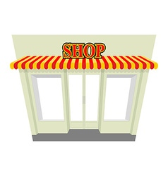Shop storefront with visor isolated shop building vector