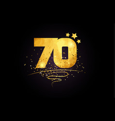 70 number icon design with golden star and glitter vector image