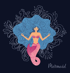 a meditating mermaid with vector image