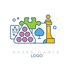 Abstract logo design with board games modern vector