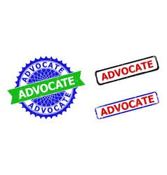 Advocate rosette and rectangle bicolor seals vector