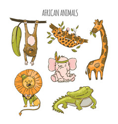 african animals cute cartoon circus zoo hand drawn vector image