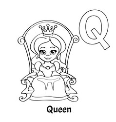 Alphabet letter q coloring page queen vector