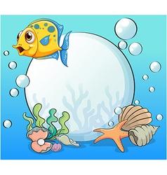 An orange fish near the big pearl vector