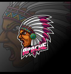 Apache indian man head mascot logo vector