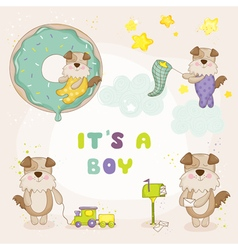 Baby dog set - shower or arrival cards vector