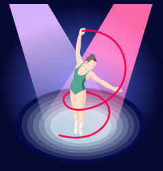 Ballet and ballerina isometric composition vector