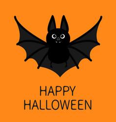Bat flying happy halloween cute cartoon character vector