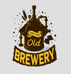 Beer logo emblem print design brewery equipment vector