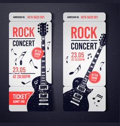 Black rock concert ticket design template vector
