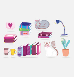 book day cats books plant lamp coffee cup vector image